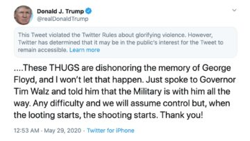 Twitter censors Trump for denouncing violence, claims he's 'glorifying violence'